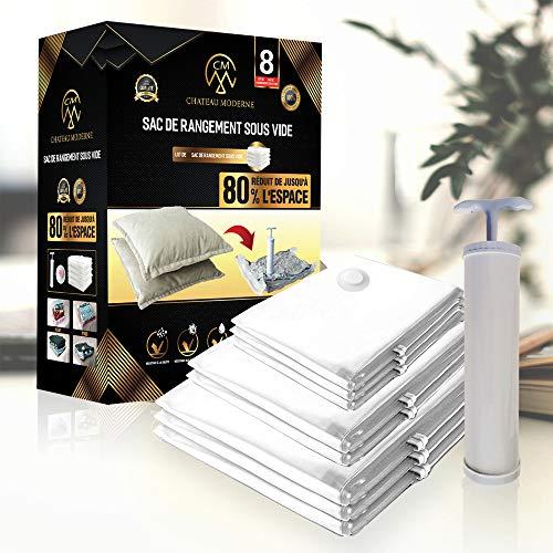 Bolsa de almacenamiento al vacío para ropa o aspiradora, bolsa de compresión de hasta un 40% más gruesa, bomba gratuita incluida, uso muy sencillo (Pack de 8)