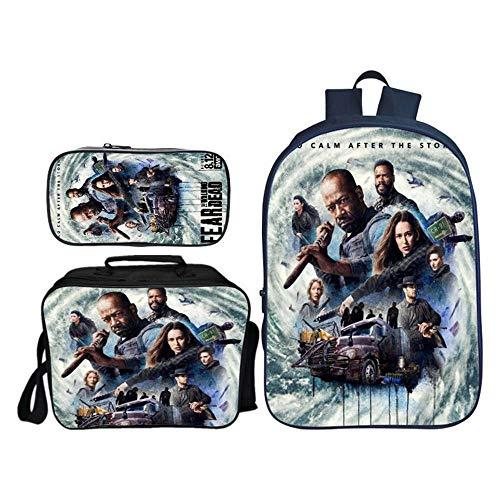 Mochilas Infantiles Película De Terror Walking Dead Mochila Impresa + Bolsa De Mensajero + Estuche De Lápices Paquete Combinado Mochilas Diarias G
