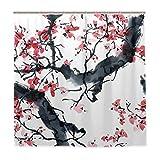 Nobranded Waschbarer Duschvorhang für Badezimmer, wasserdicht, Blütenbaum, Stoff, Duschvorhänge mit Haken, 183 x 183 cm