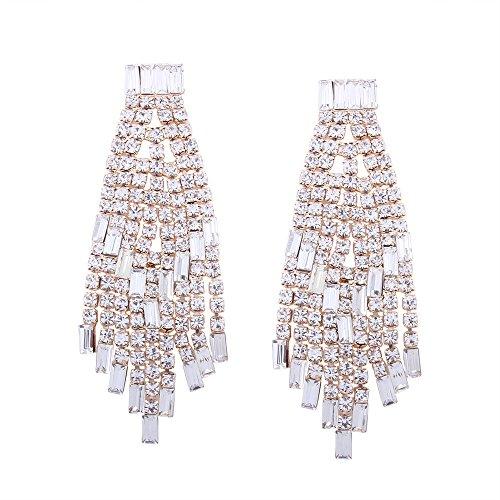 Ohrstecker Ohrringe Ohrschmuck Anhänger Ohrclip Ohr schnalle Luxus Diamant besetzte Quaste langes Brautkleid, Gold minimalistisch, koreanische Version, Zubehör, zart, Retro
