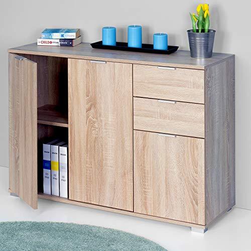 Deuba Cómoda Alba de Color Marrón Robles de 3 Puertas y cajones - archivador Mueble de organización para Oficina Dormitorio