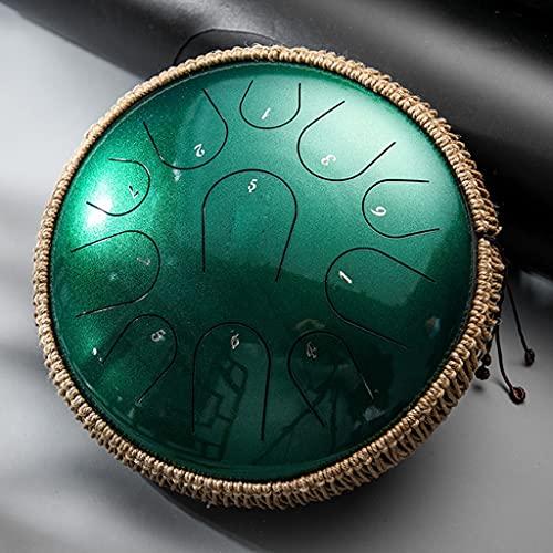 WZHZJ 13 Pulgadas 11 Tonos c Key Clave de Acero Tambor de la Lengua de la percusión Instrumentos de percusión Meditación Principiante Accesorios de Tambor Regalo (Color : Green)
