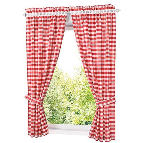 KOU-DECO Vorhang mit Karo-Muster Landhausstil Gardinen in Rot und Weiß Outdoor Gardinenshals mit Raffhalter für Wohn-, Schlaf- und Kinderzimmer, BxH 80x120cm, 2 Set