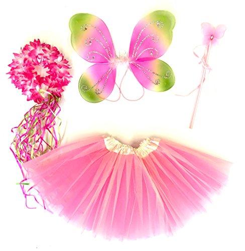 Tante Tina Schmetterling Kostüm Mädchen - 4-teiliges Mädchen Kostüm Schmetterling mit Tüllrock , Flügel , Zauberstab und Haarkranz - Rosa / Grün - geeignet für Kinder von 2 bis 8 Jahren
