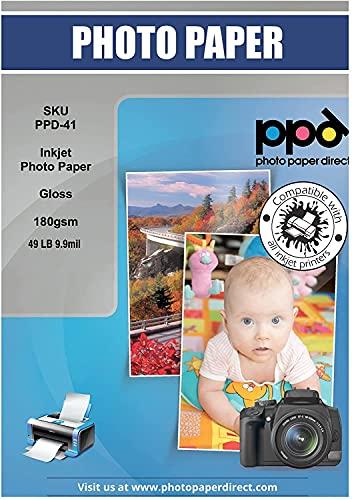 PPD A3 x 100 Hojas de Papel Fotográfico Brillante - Gramaje de 180 g/m² y Secado Instantáneo - Para Impresora de Inyección de Tinta Inkjet - PPD-41-100