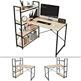 Bestier Computer Desk with Storage Shelves, 46 Inch Writing Study Desk 4-Tier Reversible Bookshelf Small L-Shaped Corner Desk with Adjustable Bookshelves Home Office Work Desk Table Oak
