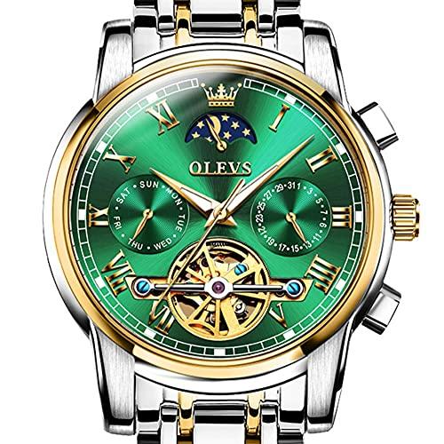 OLEVS Reloj mecánico automático para hombre de acero inoxidable fase de la luna dos tonos fecha impermeable luminoso, verde, Pulsera