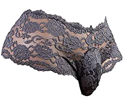Plus size sissy panties in floral lace, dark grey color.
