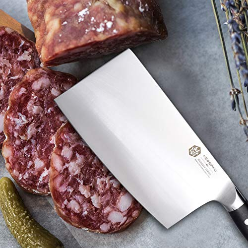 Kessaku Cleaver Butcher Knife - Dynasty Series - German HC Steel - G10 Full Tang Handle, 7-Inch