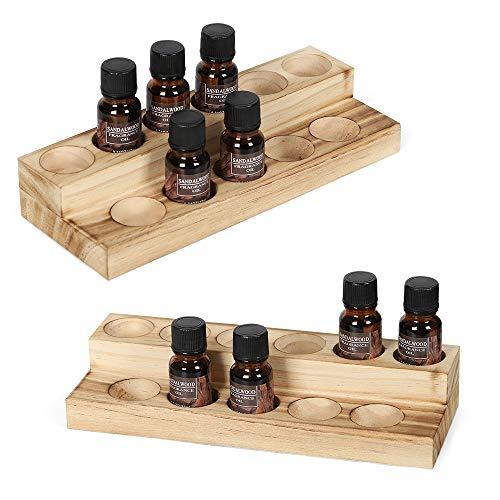 Estantes de esmalte de uñas de madera, estantería para aceites esenciales, estantería para botellas aromáticas, caja de presentación multifuncional, un juego de dos