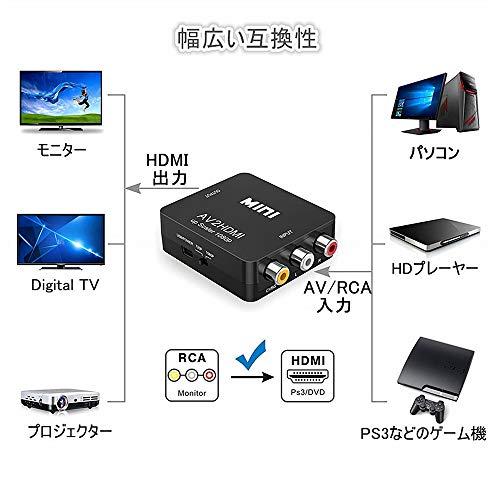 『RCA to HDMI変換コンバーター コンポジットをHDMIに変換アダプタ AV to HDMI 変換器 音声転送 720/1080P切り替え USB給電 ブラック』の8枚目の画像