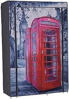 Nomade Penderie avec Housse en Tissu imprimé London 105 x 45 x 158 cm