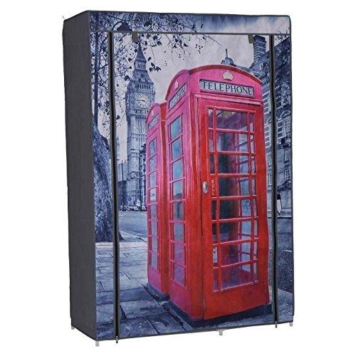Nomade - Armario con Funda de Tela Estampada London 105 x 45 x 158 cm