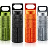 4 Pieces Portable Pill Container Bottle Air-Tight EDC Accessory Case Waterproof Pill Holder Travel Pill Container Moisture Proof to Hold Supplements with Keychain forOutdoor Camping Traveling