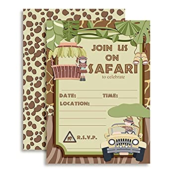 Jungle Safari Birthday Party Fill in Invitations set of 20 with envelopes