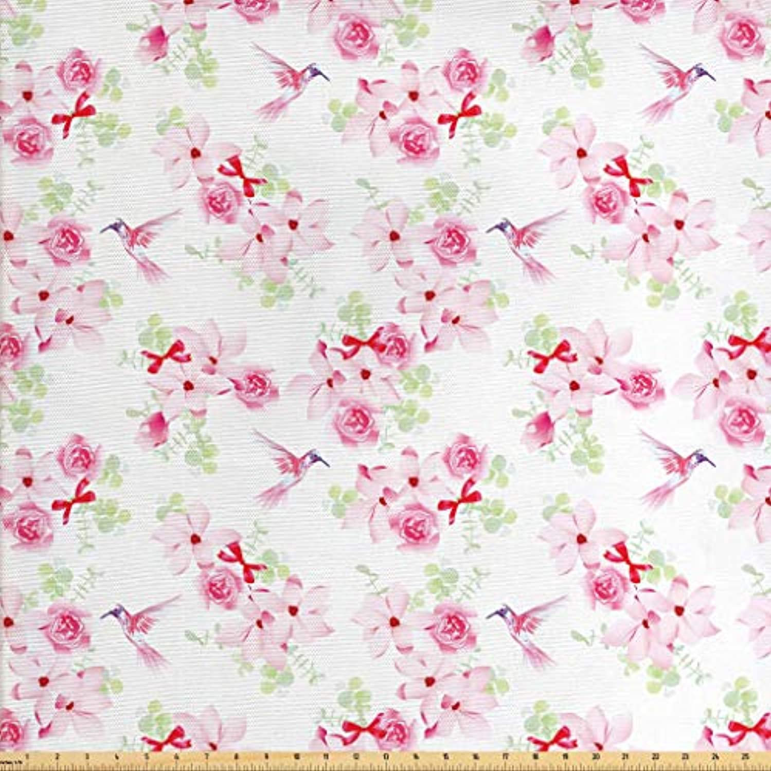 Lunarable Hummingbirds Fabric by The Yard, Hummingbirds and Bouquets with Magnolias Roses Pattern Floral Print, Decorative Fabric for Upholstery and Home Accents, 3 Yards, Pink Red Pale Green