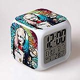 N/Z Suicida Squad Harley Quinn estatua payaso estatua Big Fruit 7 cambio de color reloj despertador digital LED colorido Touch Light estatua niño, estilo 6