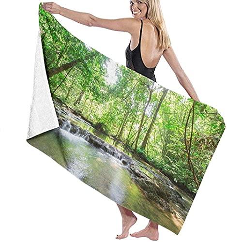 Telo Mare Grande 130 ×80cm, Acqua corrente nei boschi,Asciugamano da Spiaggia in Microfibra Asciugatura Rapida,Ultra Morbido,Uomo,Donna,Bambina