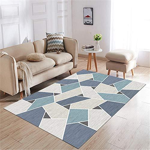 Kunsen habitacion niña habitacion Alfombra de Sala de Estar Azul Gris a Juego de Colores geométricos Resistente al Desgaste y no destiñe Cuadros habitacion Juvenil 60X90CM 1ft 11.6' X2ft 11.4'