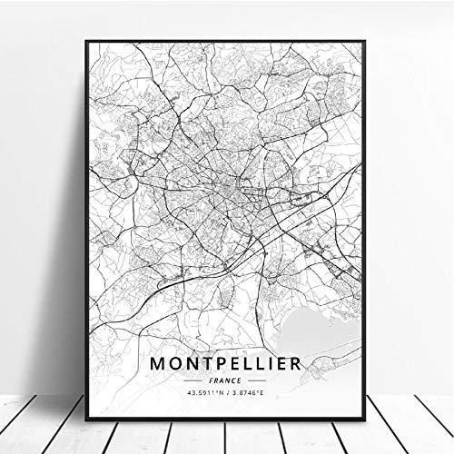 NOVELOVE Montpellier Ville France Carte Affiche HD Impressions Mur Art Photos Toile Peinture Bureau Mural Décor À La Maison sans Cadre 42 * 60 cm