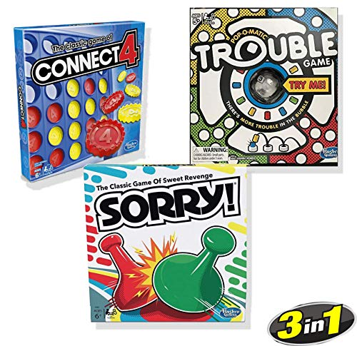 Classic Connect 4, Classic Sorry!, & Classic Trouble [Exclusively Bundled by Brishan]