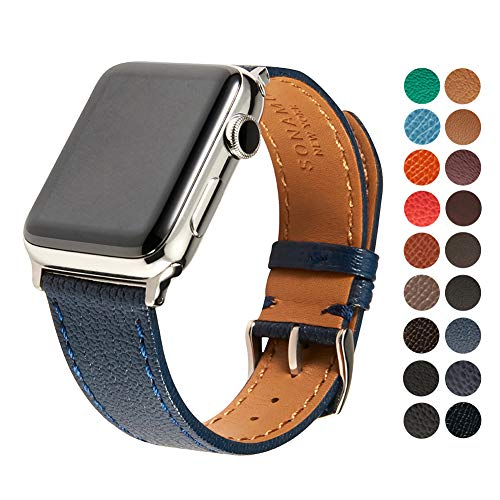 Compatible Apple Watch Band, Premium French Bijou Leather Strap with Stainless Steel Buckle for All 42mm Apple Watch Models by SONAMU New York, Royal Navy
