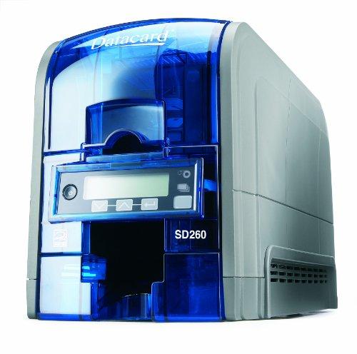 Datacard SD260 Plastikkartendrucker (535500-002) - Starter Set - Drucker + Cardpresso + Farbband YMCKO für 500 Kartenseiten (534700-004-R010)+ 500 Stück Plastikkarten blanko weiß im ISO Format