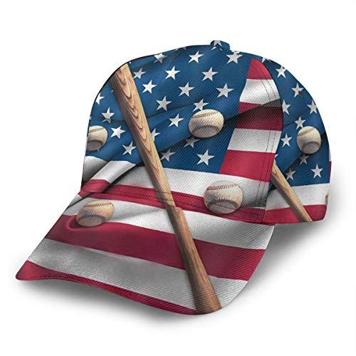 Unisex Baseball Cap Baseballschläger auf der amerikanischen Nationalflagge Adult Fashion Caps Trucker Hat Verstellbarer Strapback