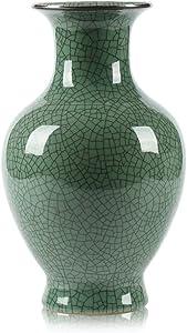 Chinese Ceramic Art Handmade Antique ice Crack Glaze vases Big China Porcelain Flower Bottle Vase for Home Decoration(Green)