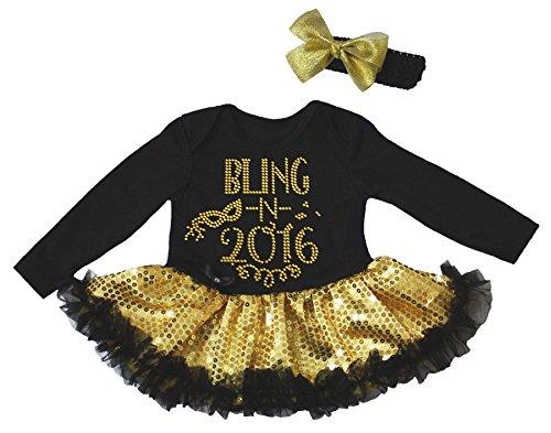 Nyårsklänning bling 2016 svart L/s bodysuit guldpaljetter Tutu Romper Nb-18 m