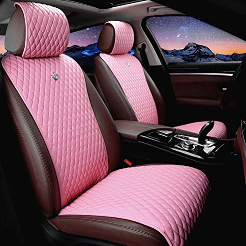 Red Rain Universal Seat Covers for Cars Leather Seat Cover Pink Car Seat Cover 2/3 Covered 11PCS Fit Car/Auto/Truck/SUV (A-Light Pink)