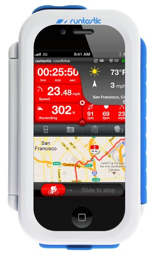 Runtastic Bike Case iPhone4/4S/5, White with Roadbike App, RUNCAI1W (with Roadbike App. Universal Tool Free Mounting)
