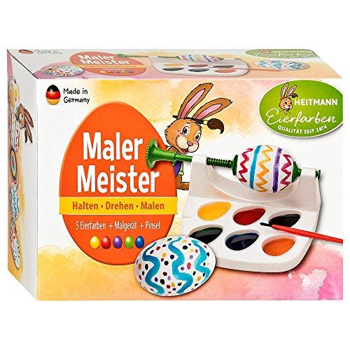 Heitmann Eierfarben Malermeister - Malgerät, Ostereier-Malmaschine mit Pinsel - 5 flüssige Eierfarben - azofrei - Ostern, Ostereier bemalen
