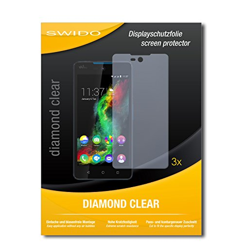 SWIDO 3 x Schutzfolie Wiko Rainbow Lite Bildschirmschutz Folie DiamondClear unsichtbar