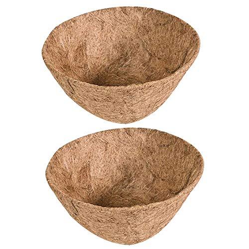 Newrys 2Pcs Round Hanging Planter Basket Huge 14 Inch Hanging Flower Pot Basket,Balcony Hanging Bonsai Basket Liner Coconut Shell Flower Pot Planter 20cm