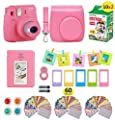 Fujifilm instax Mini 9 Instant Camera Flamingo Pink + 20 Instant Film Pack, Instax Case + Instax Accessories Bundle, Kit Includes, Albums, Selfie Lens, 4 Color Lenses, Magnets Frames, by Shutter by fujifiln instax mini 9 accessories bundle