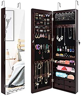 SUNCOM Jewelry Cabinet, Full Length Mirror Armoire Storage Organizer with Lockable Key, 6 LEDs, 4 Drawers, Wall Mounted/Door Hanging