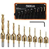 TACKLIFE 9 Pcs Countersink Drill Bit Set with 1 Hex Key Wrench& 1 Storage Bag, High-Speed Steel Adjustable Carpentry Reamer Plated for Wood DIY-CDB01