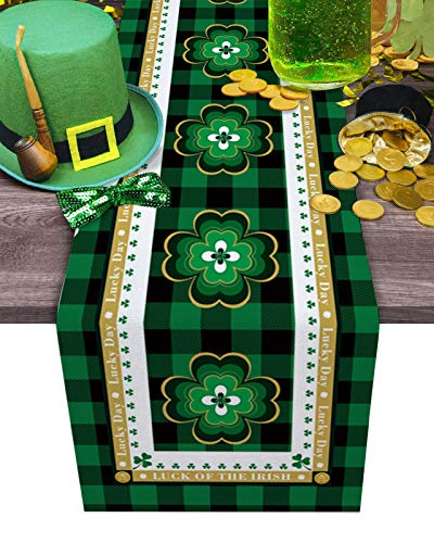 Dining Table Runner Dresser Scarf Linen Burlap Fabric,St. Patrick's Day Lucky Shamrock on Buffalo Plaid Border Washable Table Runners 70 Inches Long for Farmhouse Home Kitchen Wedding Party Decor