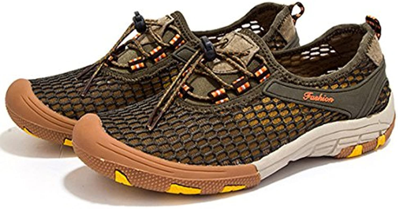 HAOYUXIANG Network shoes leisure sports fashion trend big yard outdoor climbing mesh shoes man (color   Khaki, Size   46)