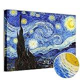 Quadri L&C ITALIA Quadro Van Gogh Notte Stellata Stampa su Tela 70 x 50 Soggiorno Camera da Letto Salotto Ufficio