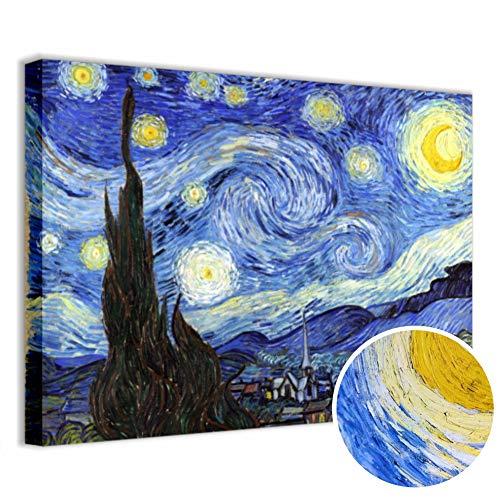 Quadri L&C ITALIA Quadro Van Gogh Notte Stellata Stampa su Tela 70 x 50 Soggiorno Camera da Letto...