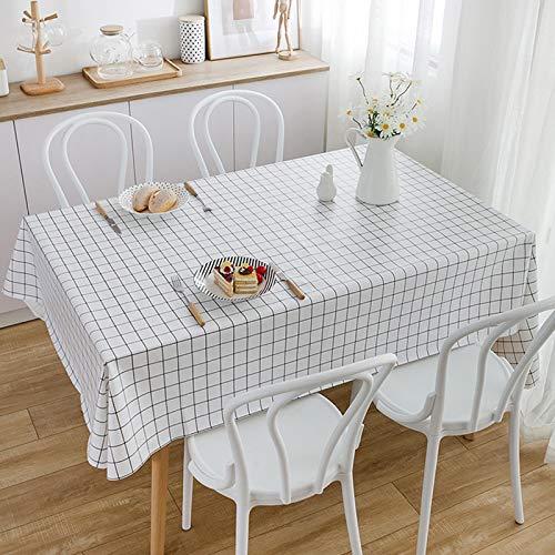 Durtail Mantel Antimanchas, Mantel de PVC impermeable,Mantel Mesa Rectangular,para mesa de comedor, resistente al aceite, al agua, a las manchas, al moho y al agua (145 x 220 cm), color blanco