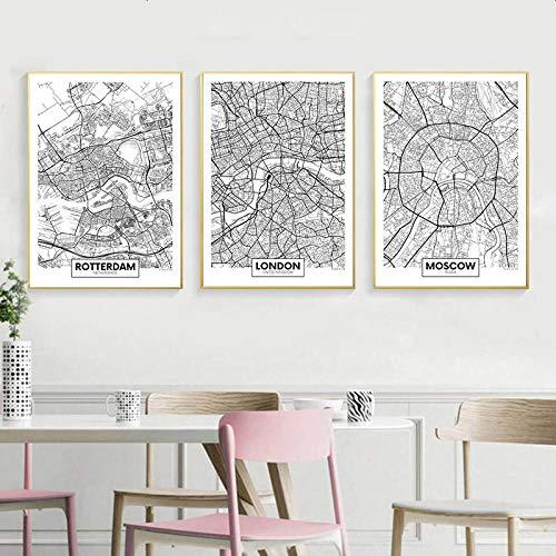 Terilizi Zwart Wit Rotterdam London New York hoofdstad kaart canvas poster muur kunstdruk schilderij Scandinavisch decoratief schilderij Decor-50X70Cmx3 Geen lijst