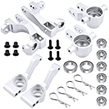 Hobbypark Aluminum Steering Blocks Caster Blocks C-Hubs Stub Axle Carriers Left & Right with Ball Bearings Replace 6837 6832 1952 for Traxxas 1/10 Slash 4x4 Hop Parts (Sliver)