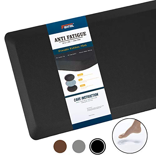 "Anti Fatigue Mat Kitchen Mats Cushioned,Thicken Core Foam 20x32x9/10-Inch,Perfect for Kitchens,Standing Desks and Garages,Phthalate Free,Relieves Foot,Knee,and Back Pain(Black,20""x32"")"