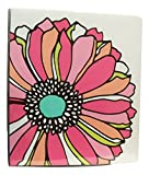 Carolina Pad Studio C The Whimsical Flower Collection 1 Inch O-Ring Vinyl Binder with Pockets (Large Flower Head on White, 10 Inches x 11.5 Inches)