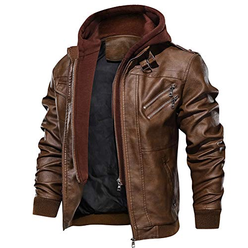 FEDTOSING Men's Vintage Biker Faux Leather Jacket Retro Zip-UP Stand Collar Motorcycle Jackets with Removable Hood (Brown-7 L)