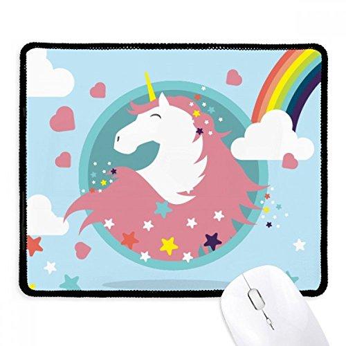DIYthinker Rainbow Cloud Star hart glimlach eenhoorns anti-slip muismat spel kantoor zwart Titched Edges Gift