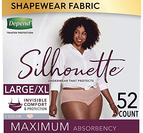 Depend Silhouette Incontinence and Postpartum Underwear for Women, Maximum Absorbency, Disposable, Large/Extra-Large, Pink, 52 Count (Packaging May Vary)
